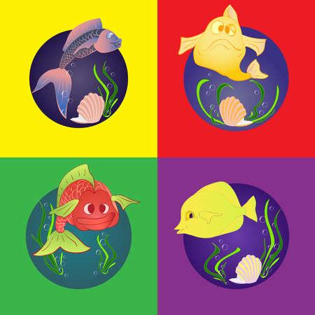 cockle: Set marine fish. Marine and underwater themes.