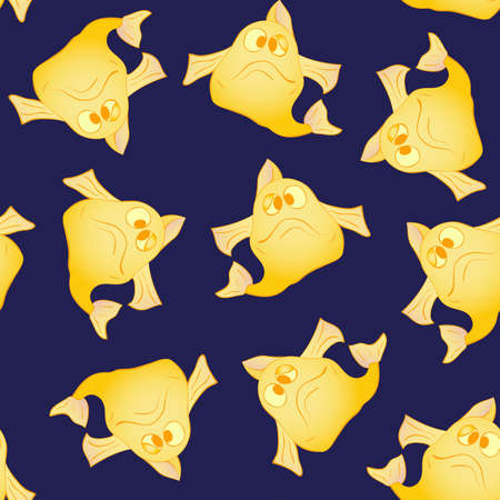 funny fish: Yellow funny fish seamless pattern. Marine and underwater themes.