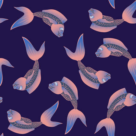 funny fish: Funny fish seamless pattern. Marine and underwater themes.