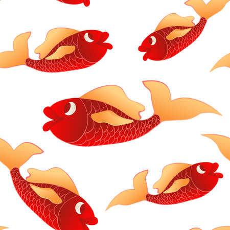 underwater fishes: Seamless pattern red little fishes. Marine and underwater themes. Illustration