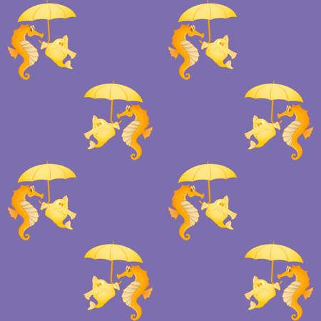 symmetrical: Seahorses and fish. Symmetrical seamless background. Marine and underwater themes.