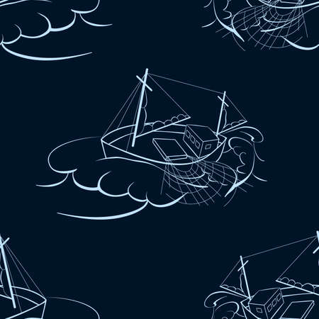 trawl: A fishing ship. Seamless background. Marine and underwater themes. Illustration