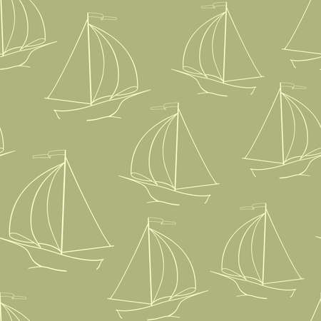 sailing yacht: The sailing yacht. Yellow background. Seamless background. Marine and underwater themes. Illustration