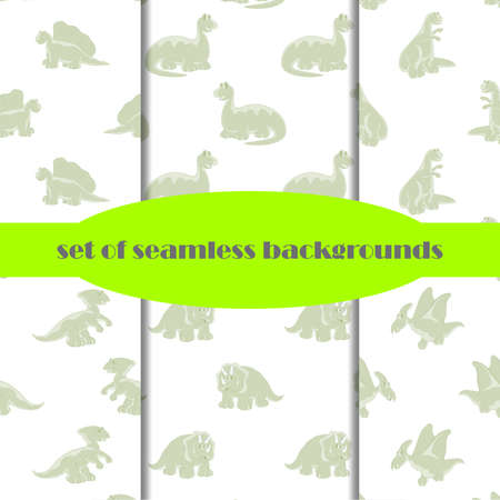 mesozoic: Set. Dinosaurs are kind and funny. Seamless series for young children