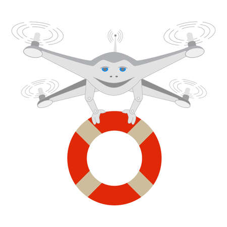Drone and lifeline. Rescue on the water. Series cartoon Drones Illustration