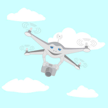 Drone with a video camera. Series cartoon Drones Illustration