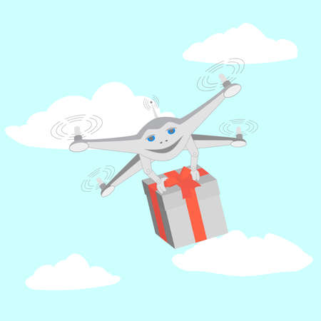 Drone delivers gifts. Sky clouds. Series cartoon Drones