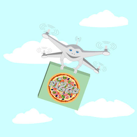 the fastest: Drone. Air delivery pizza. Series cartoon Drones