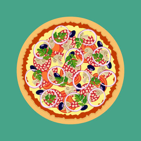 Pizza. Tomatoes mushrooms onions and olives. Series food Illustration