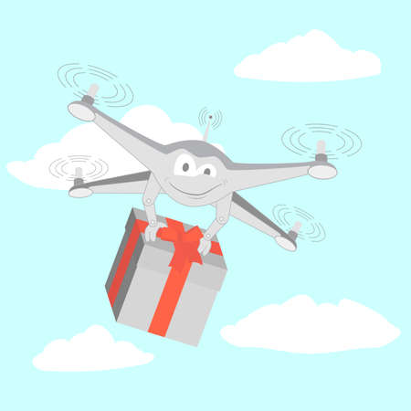 delivers: Drone delivers funny gifts. Series cartoon Drones