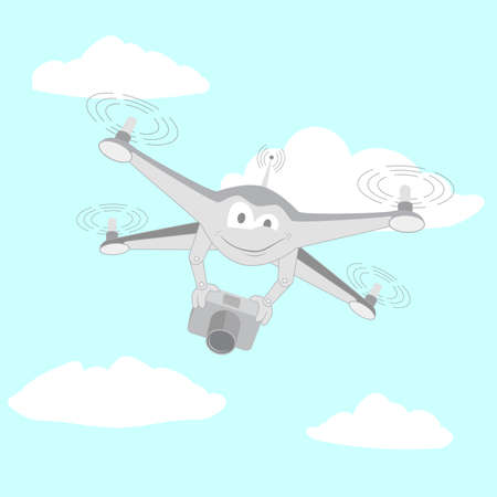 Drone filmed by the camera. Series cartoon Drones Illustration