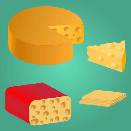 scraps: Set Pieces of cheese. Series food. Delicious foods