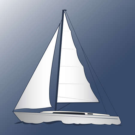 A white yacht. Blue background. Marine and underwater themes. Illustration