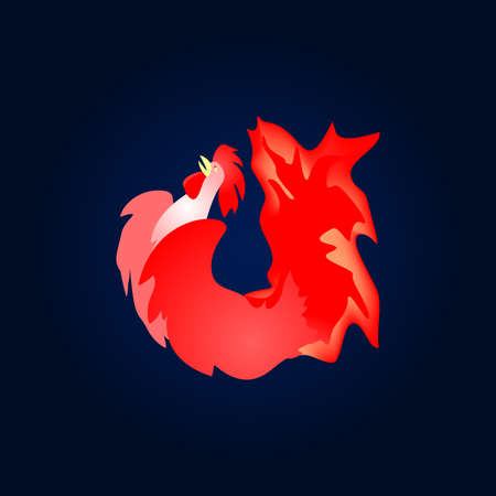 Fiery red cock. The Chinese new year. 2017 the year of the fire rooster.