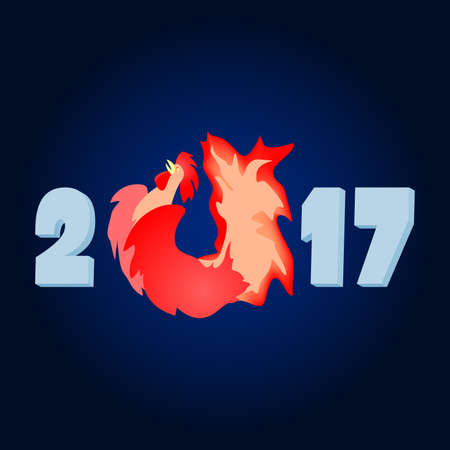 2017 the year of the fire rooster. Fiery red cock. The Chinese new year.