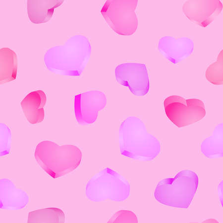 Seamless background. 3D hearts. Valentines day Illustration