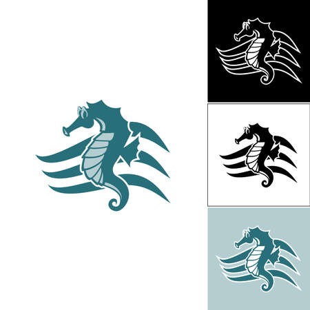 Seahorse on the wave of the logo
