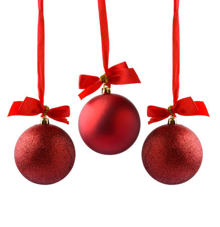 christmas decorations with white background: red Christmas balls on a white background Stock Photo
