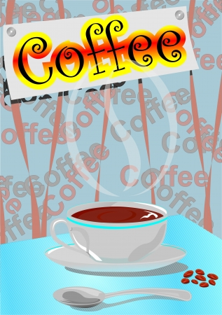 cofee cup: White cup of cofee on table whith spoon