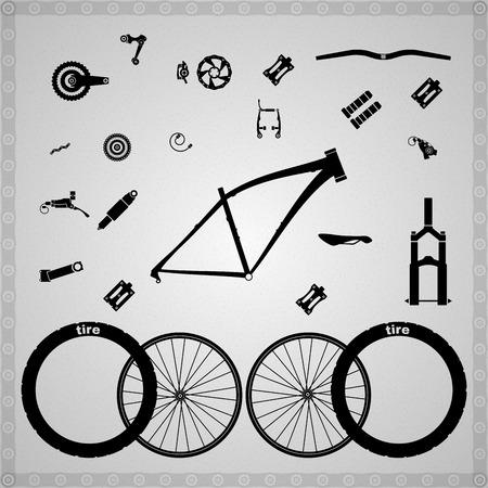자전거 부품. 일러스트