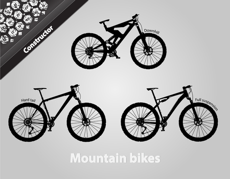 Mountain bikes. All the components are assembled. Vector