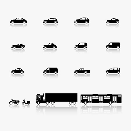 Image of cars and motorcycles in a minimalist style.