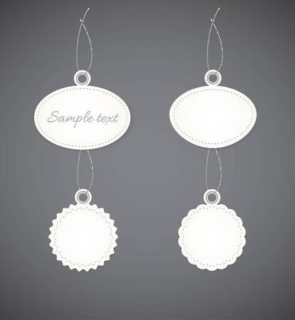 hem: Several decorative badges in light design. Badges for the goods.