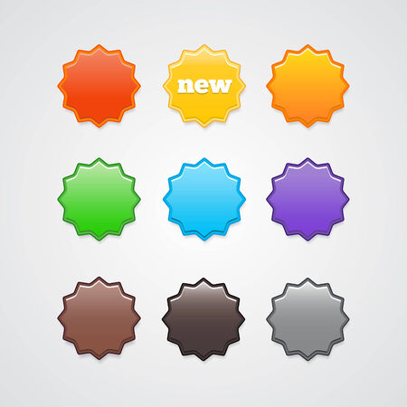 Variation of colorful stickers. Stickers for the site. Vector