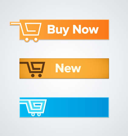 Buy now. Price tags of different colors. Vector