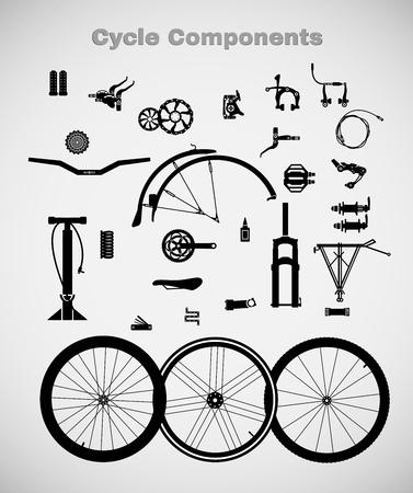 ciclismo: Componentes para bicicletas. Una variedad de accesorios para el ciclismo. Vectores