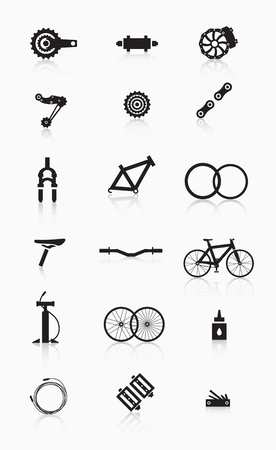shock absorber: Bike accessories. A variety of bicycle parts and accessories. Illustration