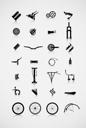 ciclismo: Conjunto de accesorios para la moto. Una variedad de accesorios para el ciclismo.