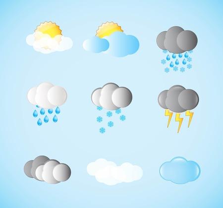 Set of weather symbols. Various symbols on a weather theme. Illustration