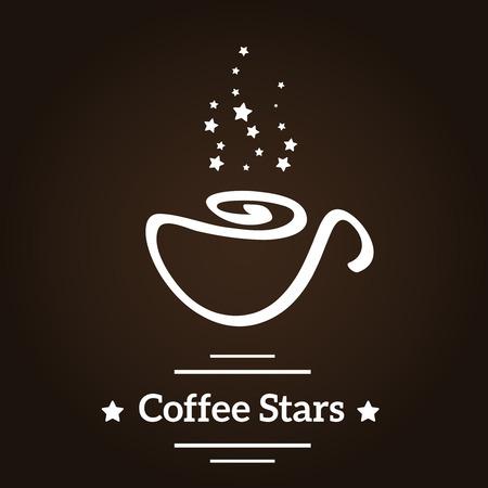 커피 컵과 스타 로고. 일러스트