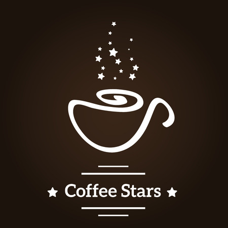 Coffee cup and star logo.