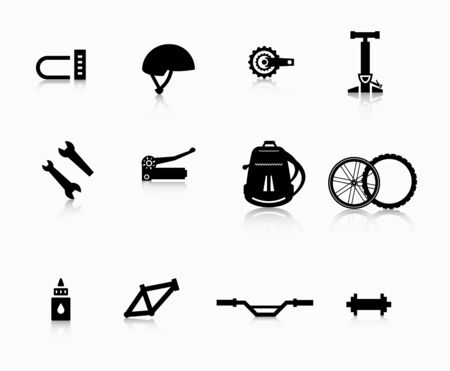 A set of accessories for the modern bicycle. Illustration