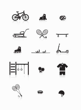 sporting goods: Set of goods for sports and recreation. Illustration