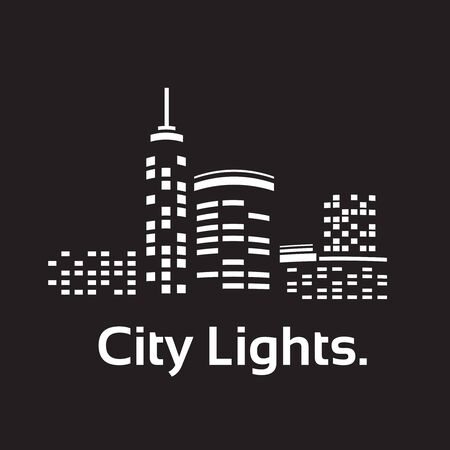 fluorescent lights: Silhouettes of buildings in the flat style.