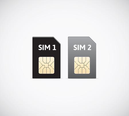 standards: Sim cards. Sim card, multiple communication standards. Illustration