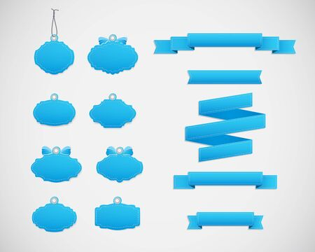 soft sell: Set of decorative labels and tapes. Decorative badges and ribbons in blue colors. Illustration