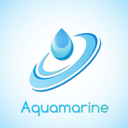 water logo: Seawater. A drop of water, the association with aquamarine.