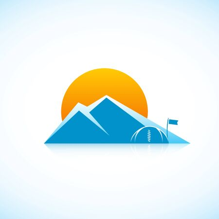 ice climbing: Mountains. Bright picture of nature. Illustration