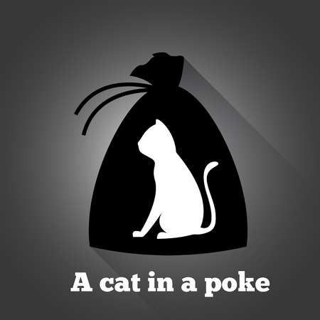 poke': A cat in a poke. Themed drawing of a cat in a bag.