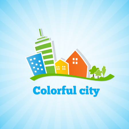 Colorful city. Bright picture of the city. Vector