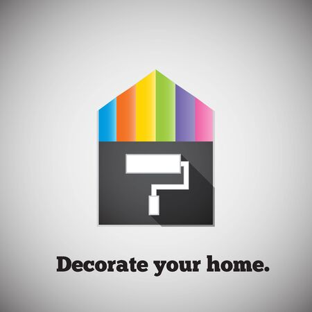 Decorate your home.Bright picture house and palettes. Illustration
