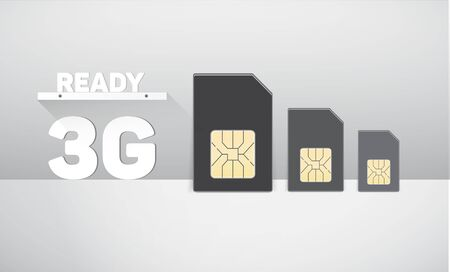 mobile communications: Sim cards. SIM card and mobile communications. Illustration