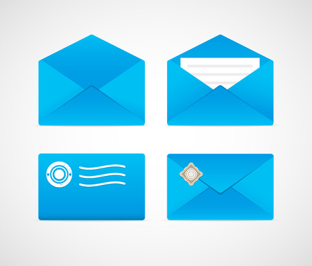 email envelope: Bright envelopes of various types.