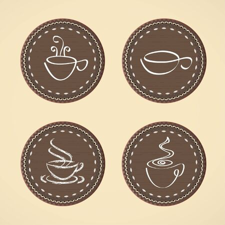 brisk: Cups for coffee, tea. A set of posters for tea, coffee theme.