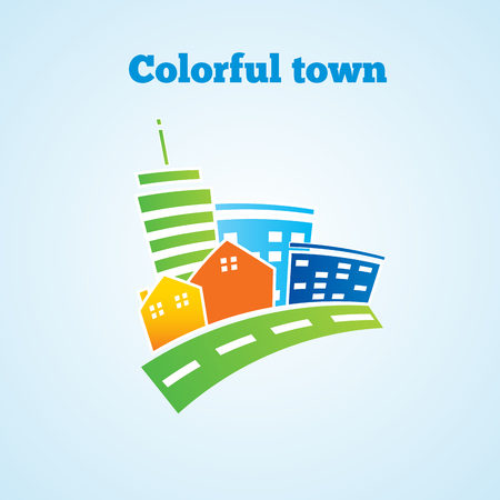 Colorful town. Bright picture of the city. Vector