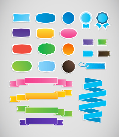 hem: Abstract illustration of colorful shapes. Decorative badges and ribbons in blue colors.